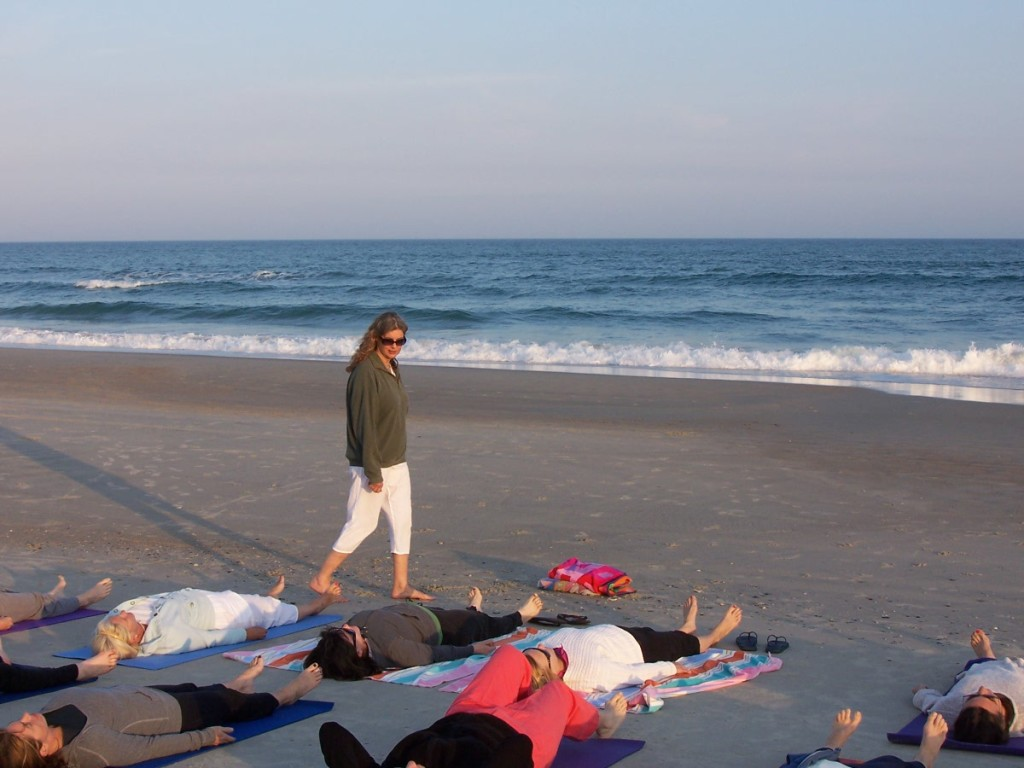 Yoga on the beach with the Yoga Nurse, Annette Tersigni R.N.